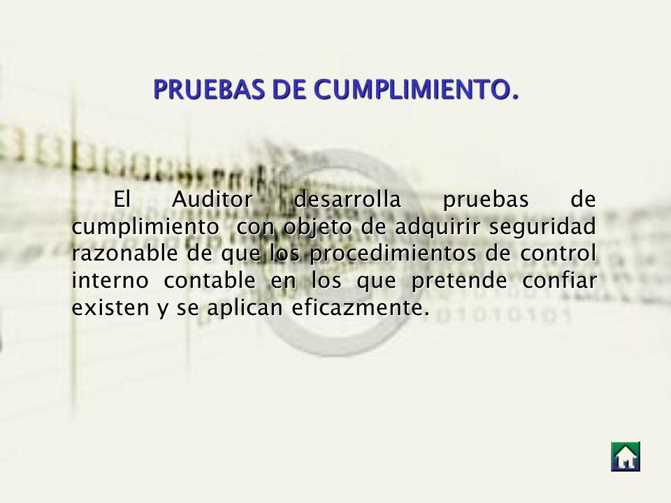 PRUEBAS DE CUMPLIMIENTO. El Auditor desarrolla pruebas de cumplimiento con objeto de adquirir seguridad razonable de que los procedimientos de control