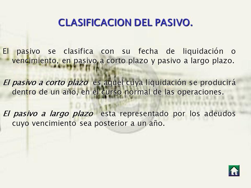 CLASIFICACION DEL PASIVO. El pasivo se clasifica con su fecha de liquidación o vencimiento, en pasivo a corto plazo y pasivo a largo plazo. El pasivo