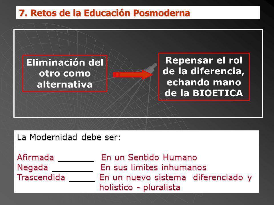 7. Retos de la Educación Posmoderna La Modernidad debe ser: Afirmada _______ En un Sentido Humano Negada ________ En sus limites inhumanos Trascendida