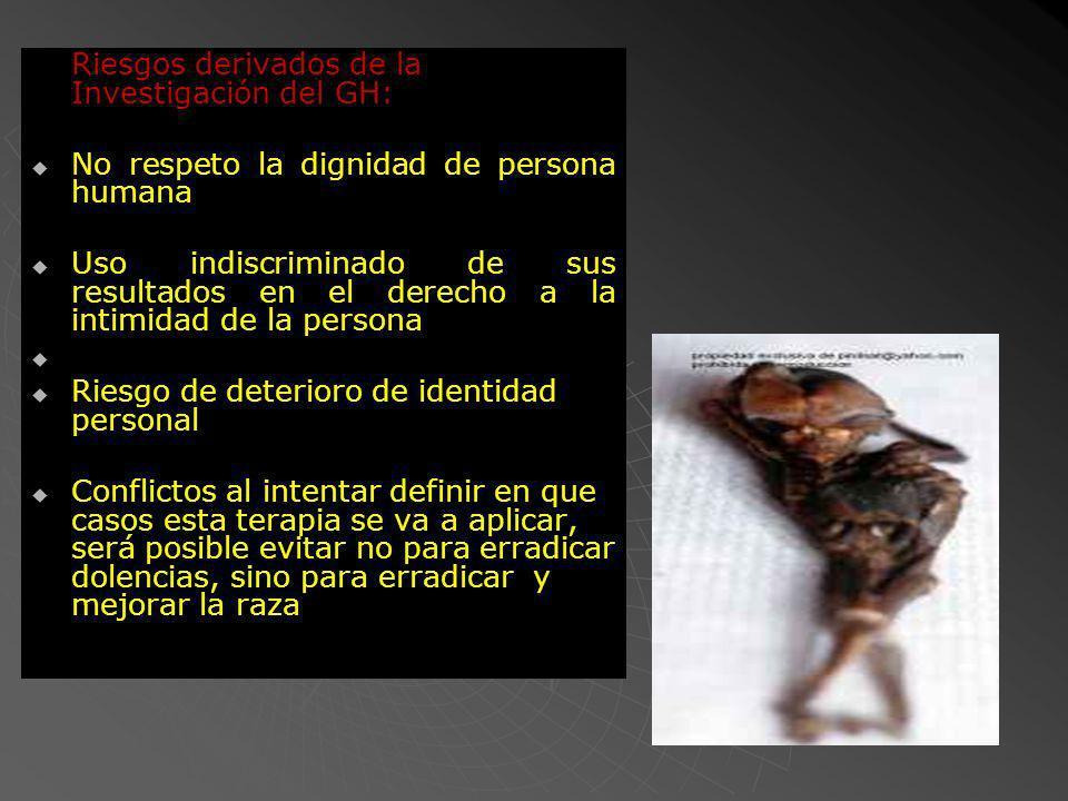 Riesgos derivados de la Investigación del GH: No respeto la dignidad de persona humana Uso indiscriminado de sus resultados en el derecho a la intimid