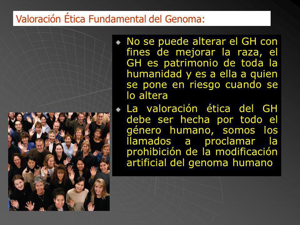 No se puede alterar el GH con fines de mejorar la raza, el GH es patrimonio de toda la humanidad y es a ella a quien se pone en riesgo cuando se lo altera La valoración ética del GH debe ser hecha por todo el género humano, somos los llamados a proclamar la prohibición de la modificación artificial del genoma humano Valoración Ética Fundamental del Genoma: