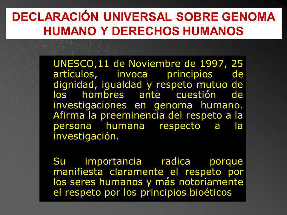 DECLARACIÓN UNIVERSAL SOBRE GENOMA HUMANO Y DERECHOS HUMANOS UNESCO,11 de Noviembre de 1997, 25 artículos, invoca principios de dignidad, igualdad y respeto mutuo de los hombres ante cuestión de investigaciones en genoma humano.