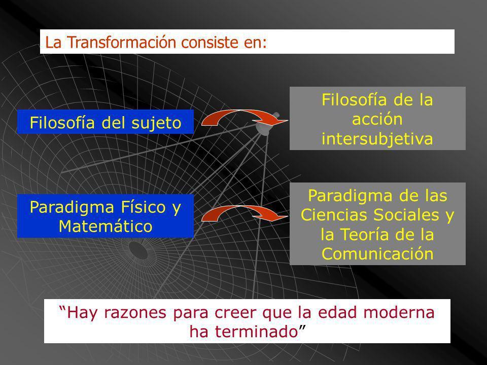 La Transformación consiste en: Filosofía del sujeto Paradigma Físico y Matemático Filosofía de la acción intersubjetiva Paradigma de las Ciencias Sociales y la Teoría de la Comunicación Hay razones para creer que la edad moderna ha terminado
