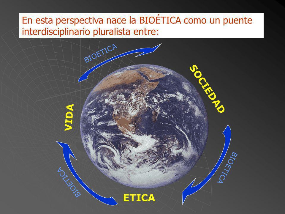 En esta perspectiva nace la BIOÉTICA como un puente interdisciplinario pluralista entre: ETICA VIDA SOCIEDAD B I O E T I C A B I O E T I C A B I O E T I C A