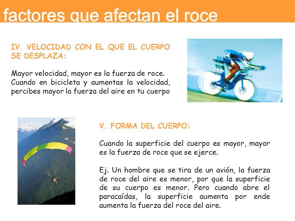 IV. VELOCIDAD CON EL QUE EL CUERPO SE DESPLAZA: Mayor velocidad, mayor es la fuerza de roce. Cuando en bicicleta y aumentas la velocidad, percibes may