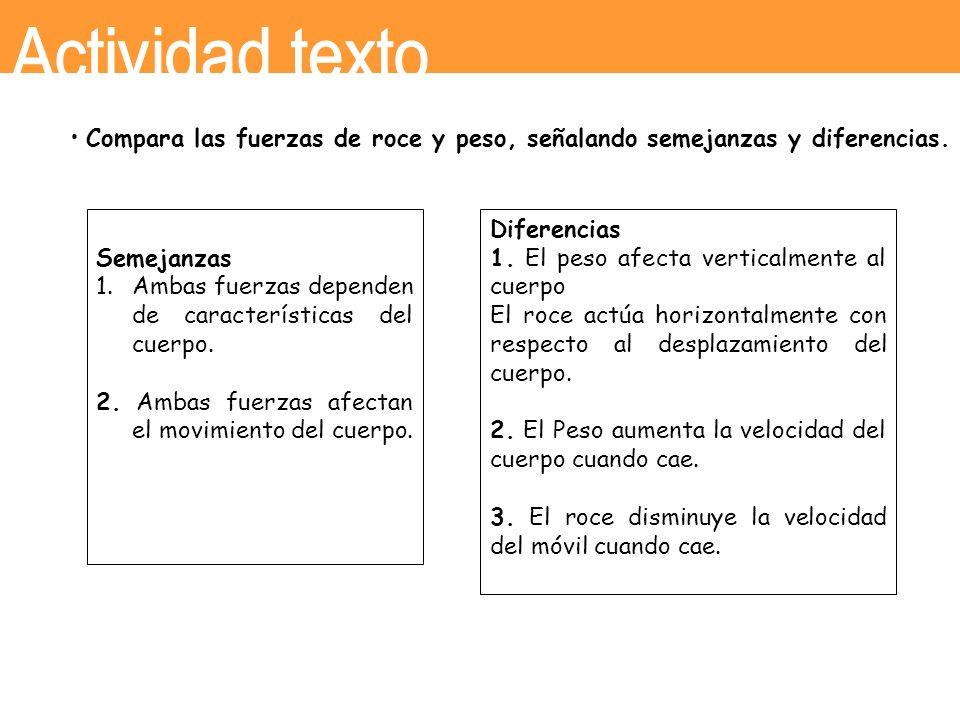 Semejanzas 1.Ambas fuerzas dependen de características del cuerpo. 2. Ambas fuerzas afectan el movimiento del cuerpo. Diferencias 1. El peso afecta ve