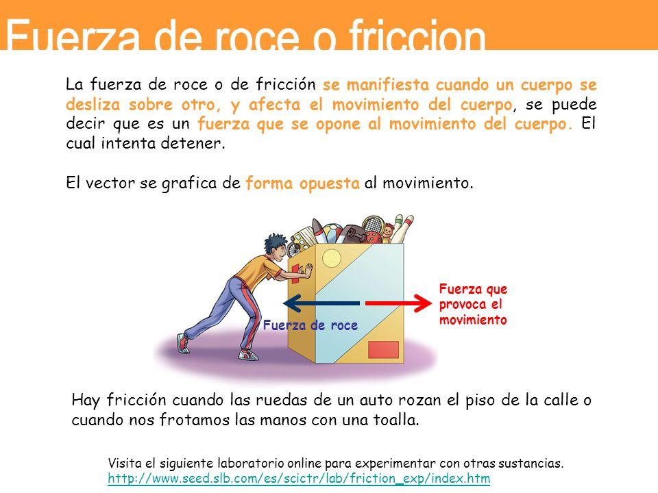 La fuerza de roce o de fricción se manifiesta cuando un cuerpo se desliza sobre otro, y afecta el movimiento del cuerpo, se puede decir que es un fuer