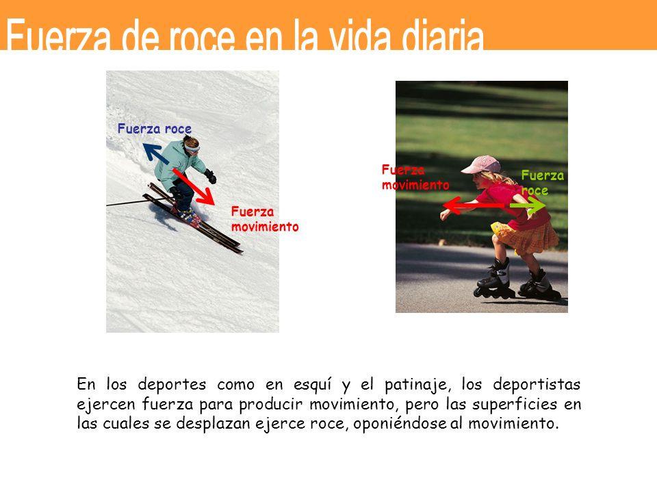 En los deportes como en esquí y el patinaje, los deportistas ejercen fuerza para producir movimiento, pero las superficies en las cuales se desplazan