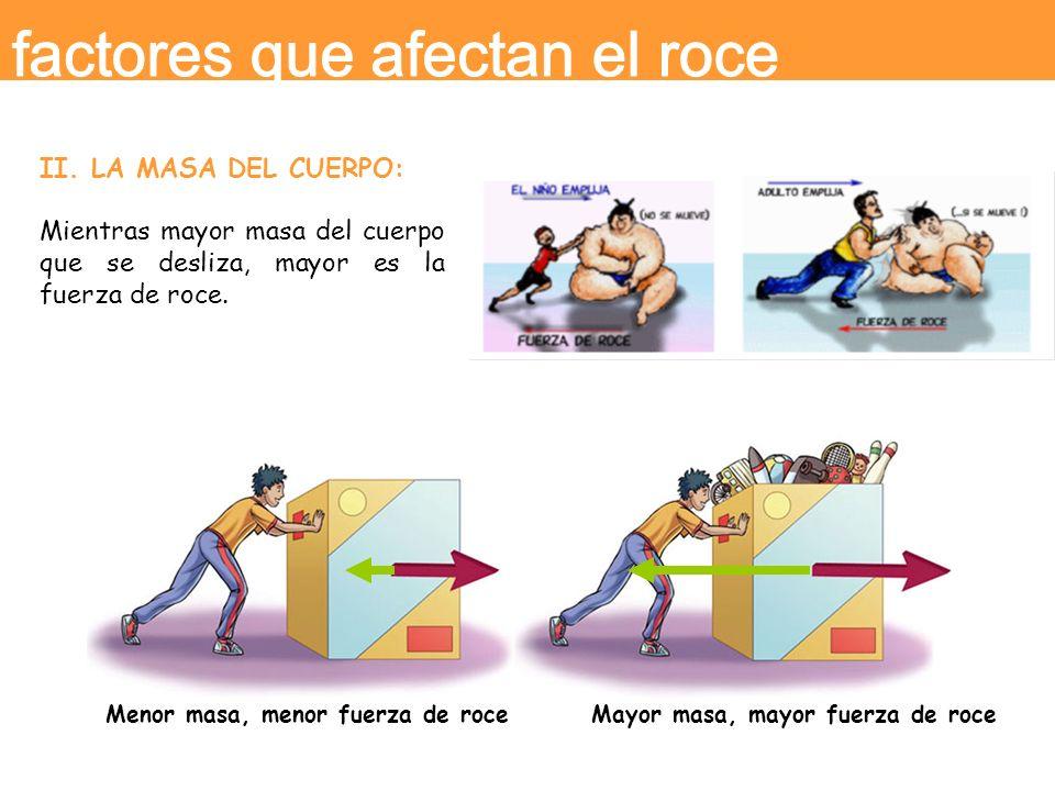 II. LA MASA DEL CUERPO: Mientras mayor masa del cuerpo que se desliza, mayor es la fuerza de roce. Menor masa, menor fuerza de roce Mayor masa, mayor