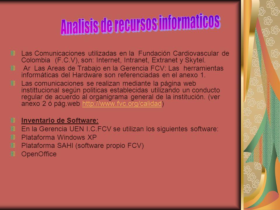 Las Comunicaciones utilizadas en la Fundación Cardiovascular de Colombia (F.C.V), son: Internet, Intranet, Extranet y Skytel. Ar Las Areas de Trabajo