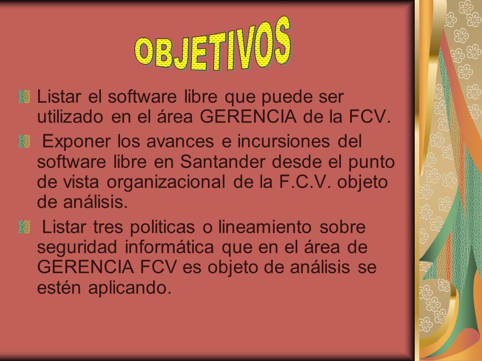 Listar el software libre que puede ser utilizado en el área GERENCIA de la FCV. Exponer los avances e incursiones del software libre en Santander desd