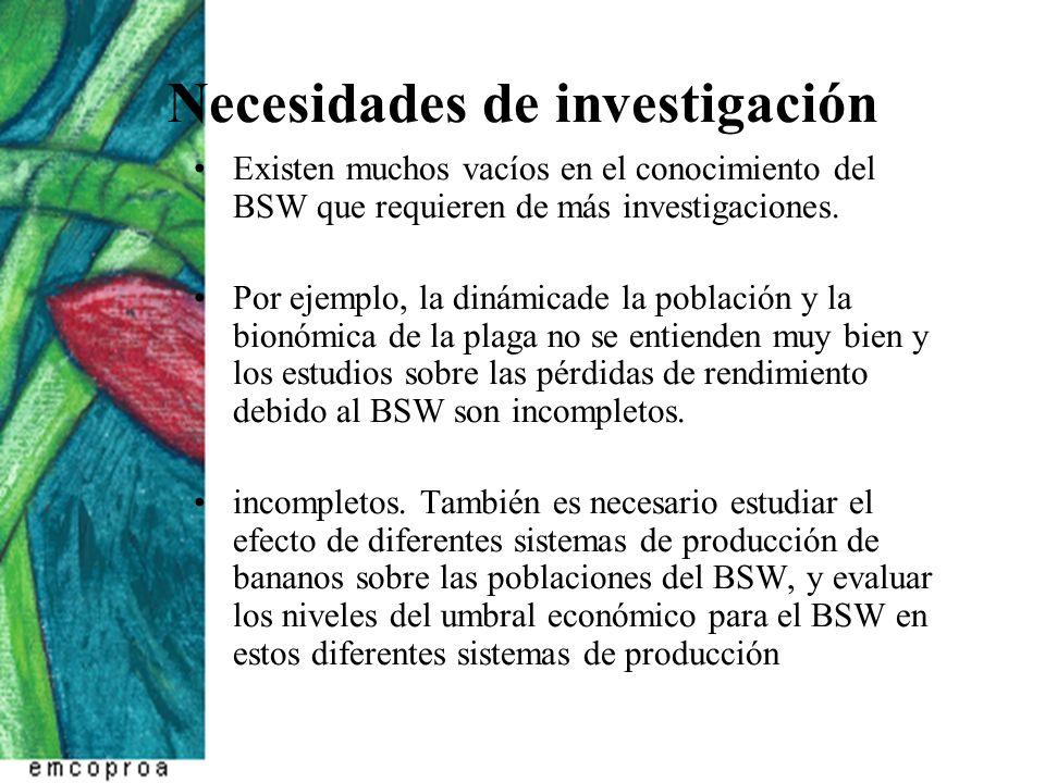 Necesidades de investigación Existen muchos vacíos en el conocimiento del BSW que requieren de más investigaciones. Por ejemplo, la dinámicade la pobl