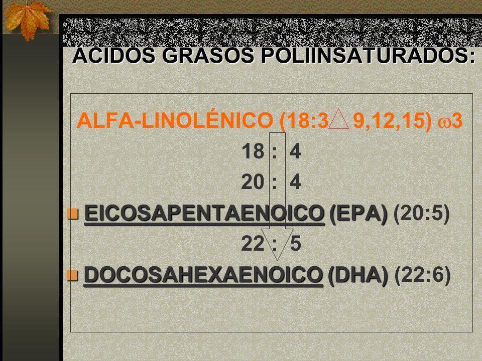 ÁCIDOS GRASOS POLIINSATURADOS: ALFA-LINOLÉNICO (18:3 9,12,15) 3 18 : 4 20 : 4 EICOSAPENTAENOICO (EPA) EICOSAPENTAENOICO (EPA) (20:5) 22 : 5 DOCOSAHEXA