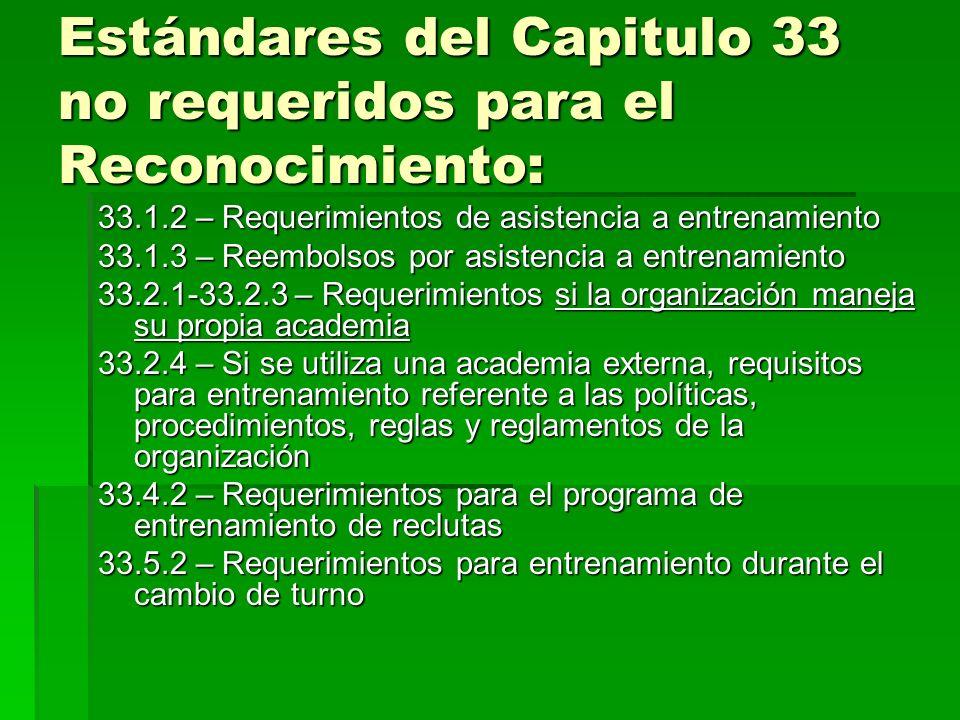 Estándares del Capitulo 33 no requeridos para el Reconocimiento: 33.1.2 – Requerimientos de asistencia a entrenamiento 33.1.3 – Reembolsos por asisten