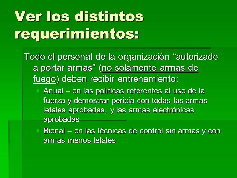 Ver los distintos requerimientos: Todo el personal de la organización autorizado a portar armas (no solamente armas de fuego) deben recibir entrenamie