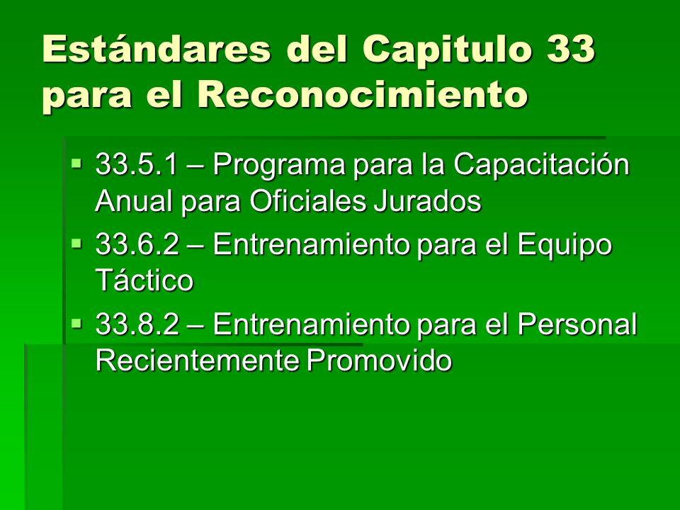 Estándar 33.1.5 Una directiva escrita establece la política de la organización referente al entrenamiento correctivo.