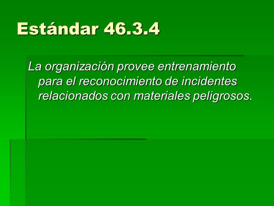 Estándar 46.3.4 La organización provee entrenamiento para el reconocimiento de incidentes relacionados con materiales peligrosos.