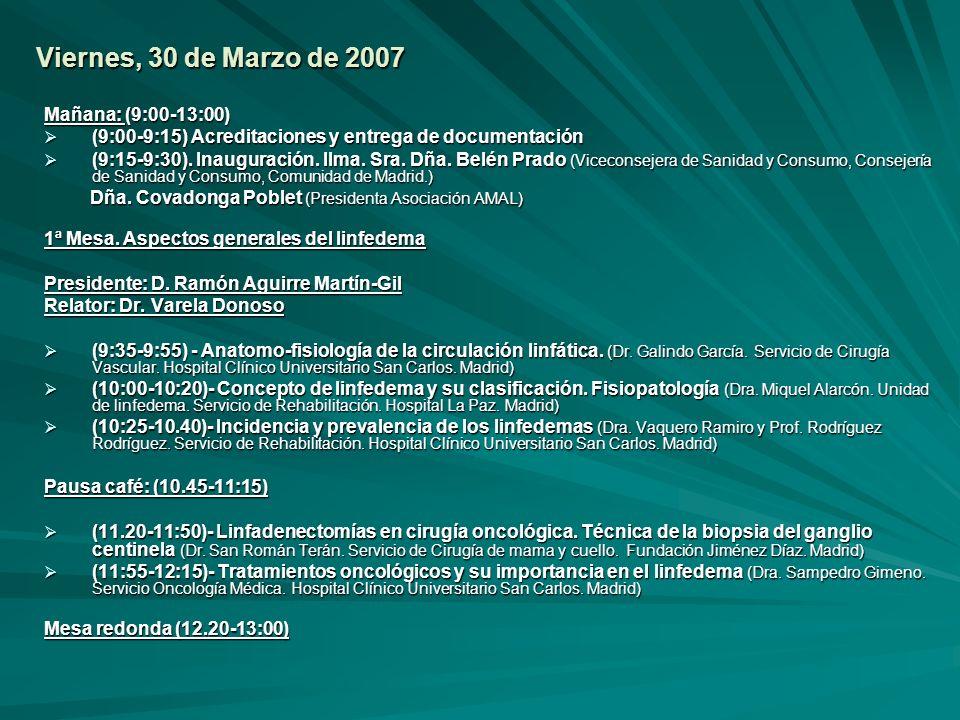 Viernes, 30 de Marzo de 2007 Mañana: (9:00-13:00) (9:00-9:15) Acreditaciones y entrega de documentación (9:00-9:15) Acreditaciones y entrega de docume