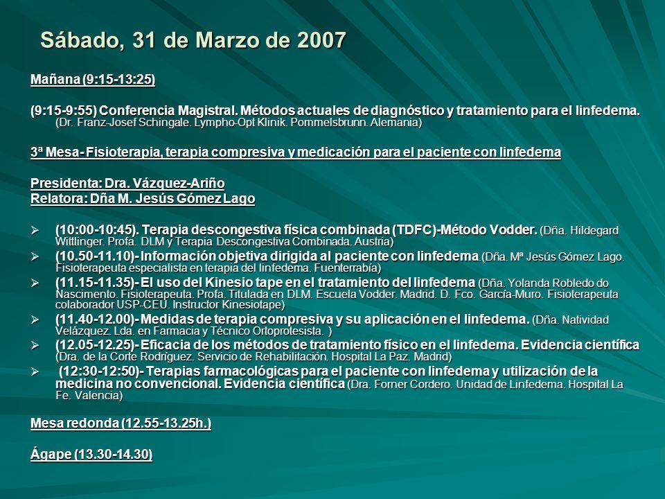 Mañana (9:15-13:25) (9:15-9:55) Conferencia Magistral. Métodos actuales de diagnóstico y tratamiento para el linfedema. (Dr. Franz-Josef Schingale. Ly