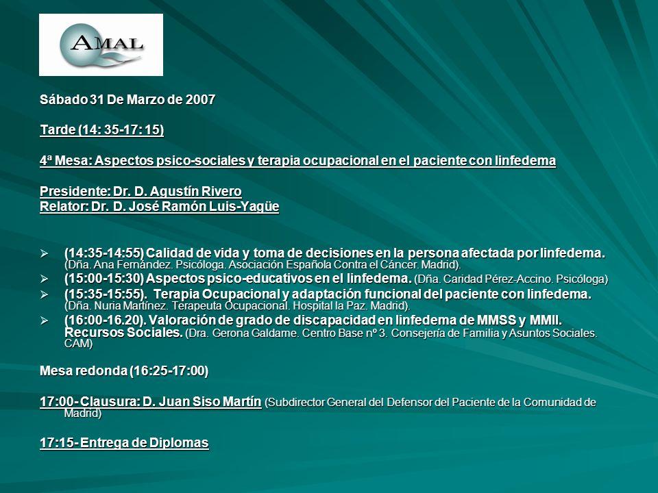 Sábado 31 De Marzo de 2007 Tarde (14: 35-17: 15) 4ª Mesa: Aspectos psico-sociales y terapia ocupacional en el paciente con linfedema Presidente: Dr. D