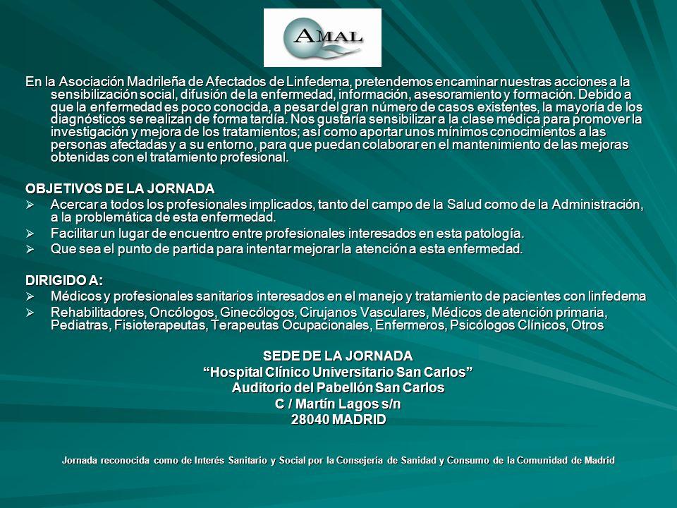 En la Asociación Madrileña de Afectados de Linfedema, pretendemos encaminar nuestras acciones a la sensibilización social, difusión de la enfermedad,
