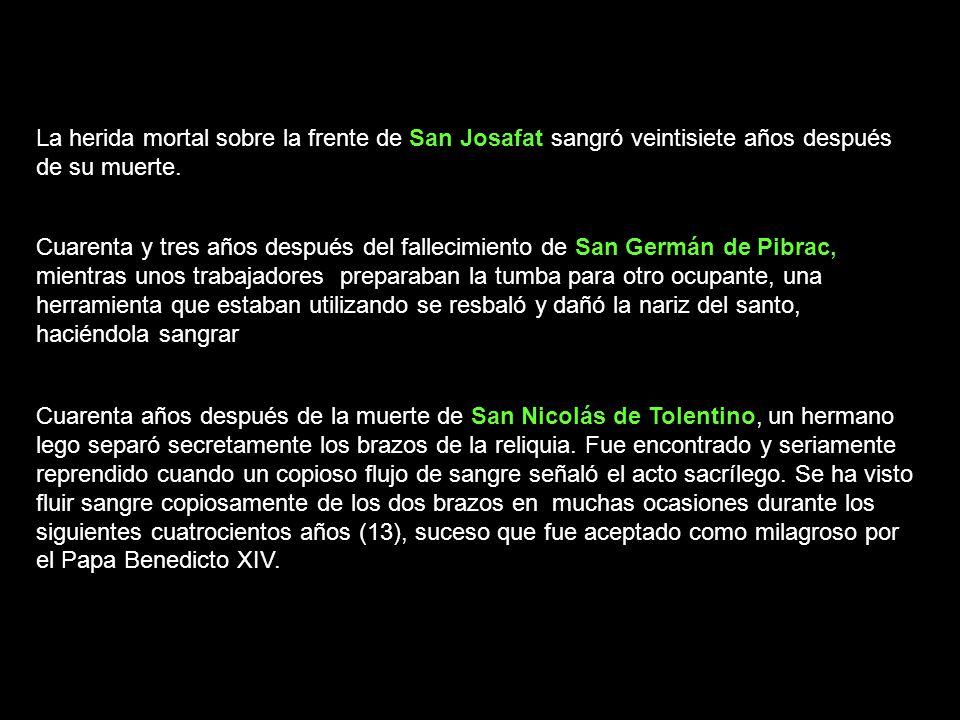 Cuarenta años después de la muerte de San Nicolás de Tolentino, un hermano lego separó secretamente los brazos de la reliquia. Fue encontrado y seriam