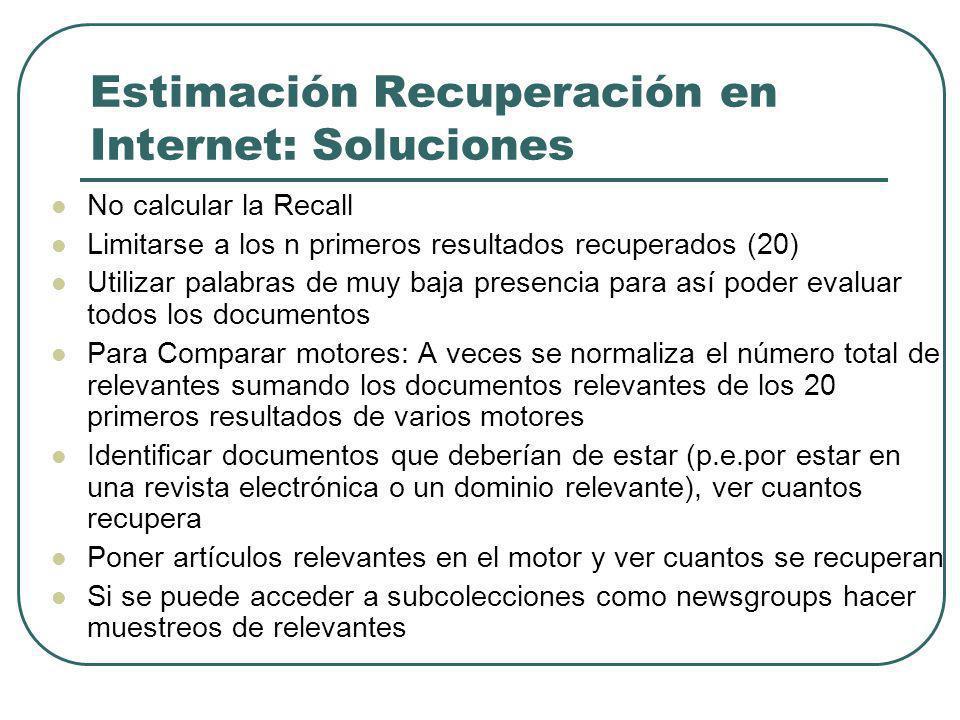 Estimación Recuperación en Internet: Soluciones No calcular la Recall Limitarse a los n primeros resultados recuperados (20) Utilizar palabras de muy