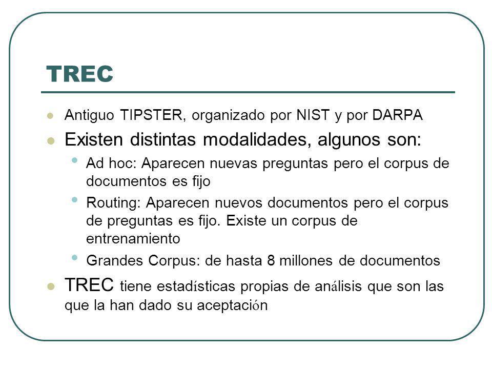 TREC Antiguo TIPSTER, organizado por NIST y por DARPA Existen distintas modalidades, algunos son: Ad hoc: Aparecen nuevas preguntas pero el corpus de documentos es fijo Routing: Aparecen nuevos documentos pero el corpus de preguntas es fijo.