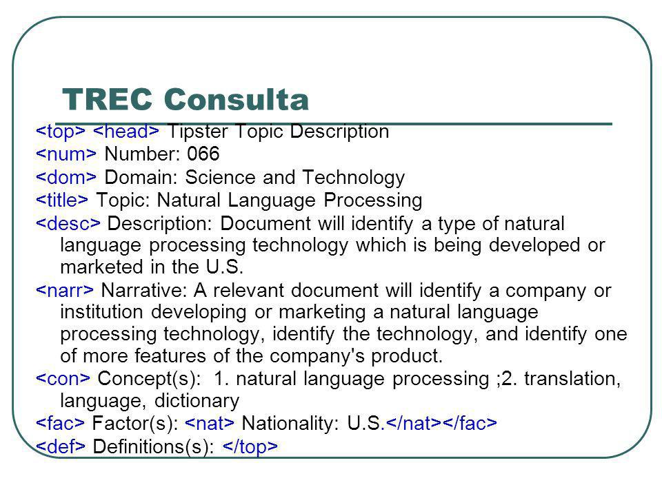 TREC Consulta Tipster Topic Description Number: 066 Domain: Science and Technology Topic: Natural Language Processing Description: Document will ident