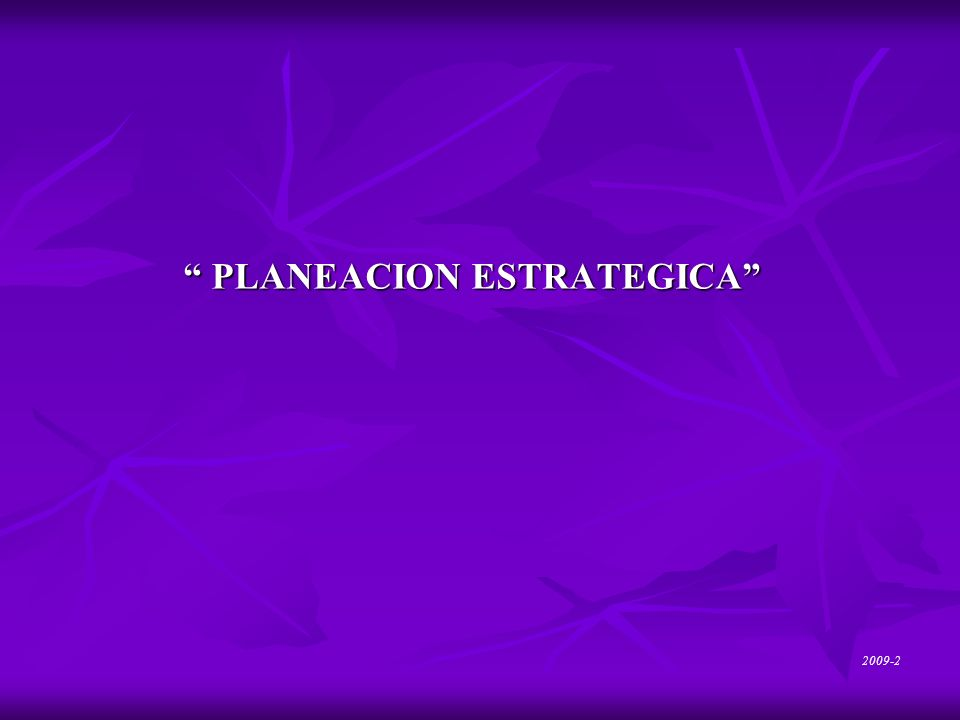 PLANEACION ESTRATEGICA PLANEACION ESTRATEGICA 2009-2