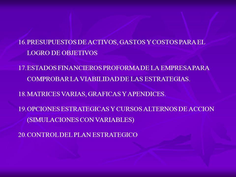 16.PRESUPUESTOS DE ACTIVOS, GASTOS Y COSTOS PARA EL LOGRO DE OBJETIVOS 17.ESTADOS FINANCIEROS PROFORMA DE LA EMPRESA PARA COMPROBAR LA VIABILIDAD DE LAS ESTRATEGIAS.