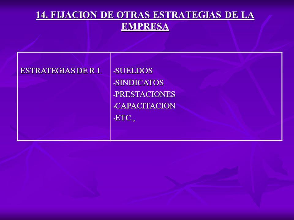 14.FIJACION DE OTRAS ESTRATEGIAS DE LA EMPRESA ESTRATEGIAS DE R.I.