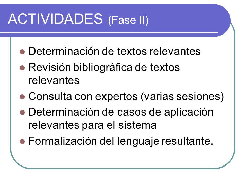 ACTIVIDADES (Fase II) Determinación de textos relevantes Revisión bibliográfica de textos relevantes Consulta con expertos (varias sesiones) Determinación de casos de aplicación relevantes para el sistema Formalización del lenguaje resultante.