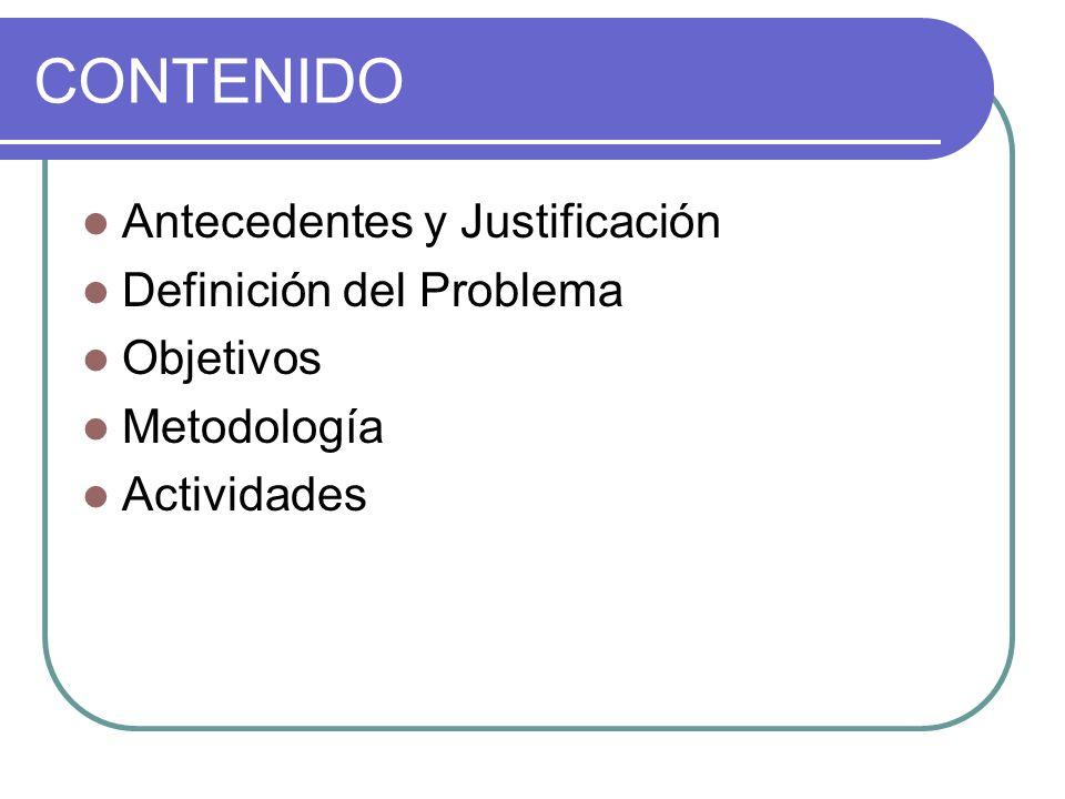 CONTENIDO Antecedentes y Justificación Definición del Problema Objetivos Metodología Actividades