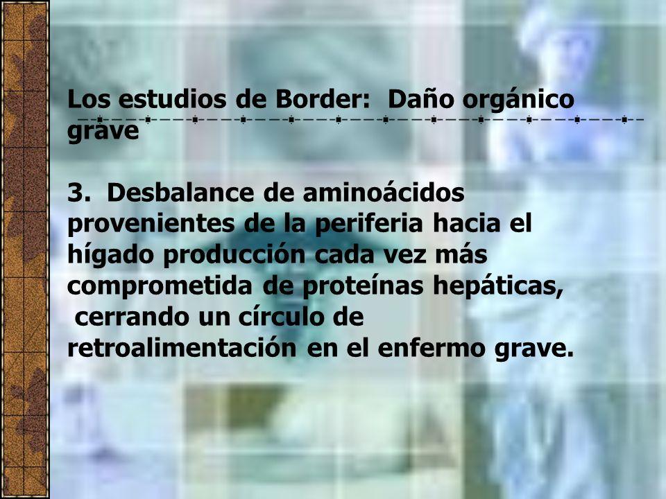 Los estudios de Border: Daño orgánico grave 3. Desbalance de aminoácidos provenientes de la periferia hacia el hígado producción cada vez más comprome