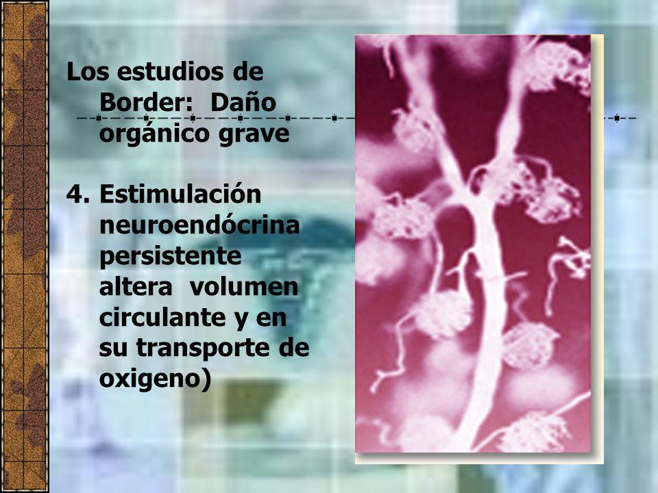 Los estudios de Border: Daño orgánico grave 4.Estimulación neuroendócrina persistente altera volumen circulante y en su transporte de oxigeno)