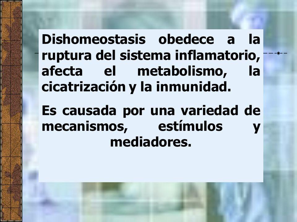 Dishomeostasis obedece a la ruptura del sistema inflamatorio, afecta el metabolismo, la cicatrización y la inmunidad. Es causada por una variedad de m