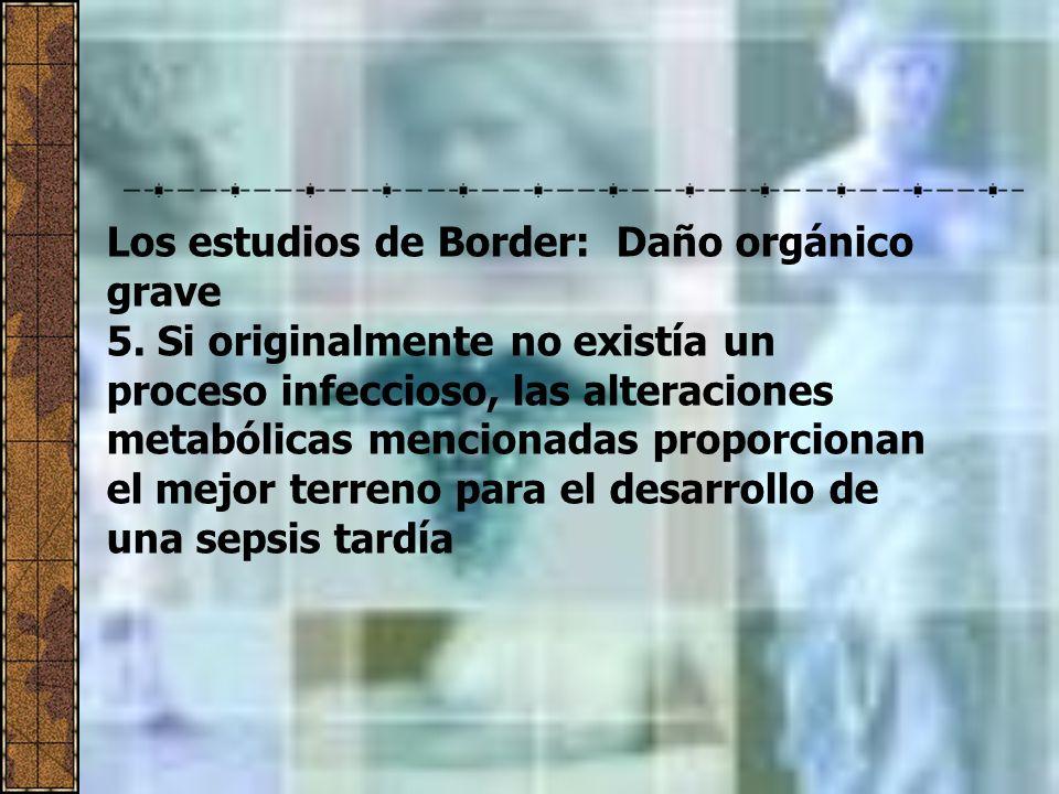 Los estudios de Border: Daño orgánico grave 5. Si originalmente no existía un proceso infeccioso, las alteraciones metabólicas mencionadas proporciona