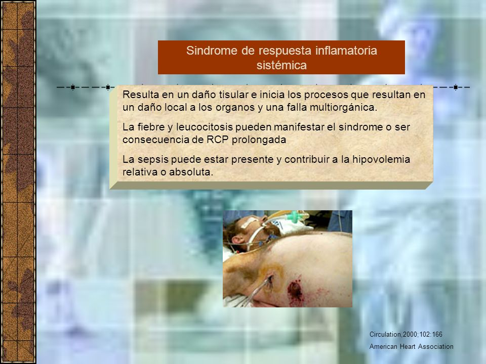 Circulation,2000;102:166 American Heart Association Resulta en un daño tisular e inicia los procesos que resultan en un daño local a los organos y una