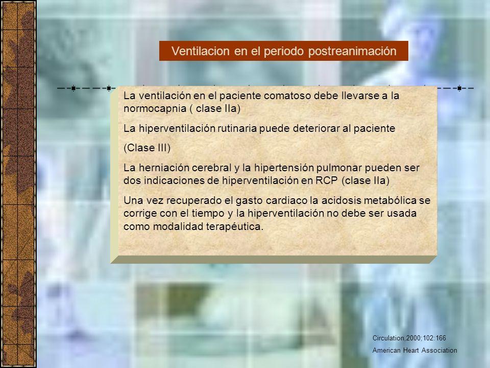 Circulation,2000;102:166 American Heart Association La ventilación en el paciente comatoso debe llevarse a la normocapnia ( clase IIa) La hiperventila