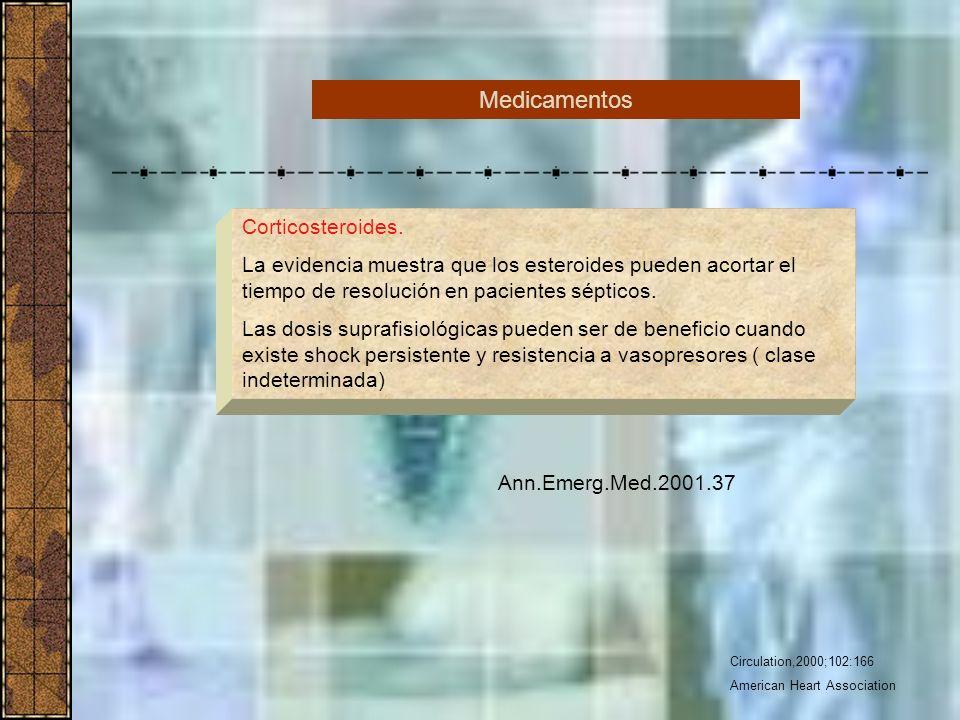 Circulation,2000;102:166 American Heart Association Corticosteroides. La evidencia muestra que los esteroides pueden acortar el tiempo de resolución e