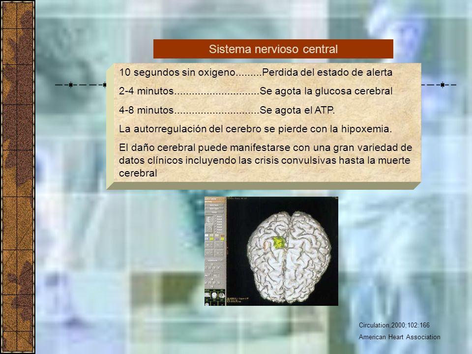 Circulation,2000;102:166 American Heart Association 10 segundos sin oxigeno.........Perdida del estado de alerta 2-4 minutos..........................