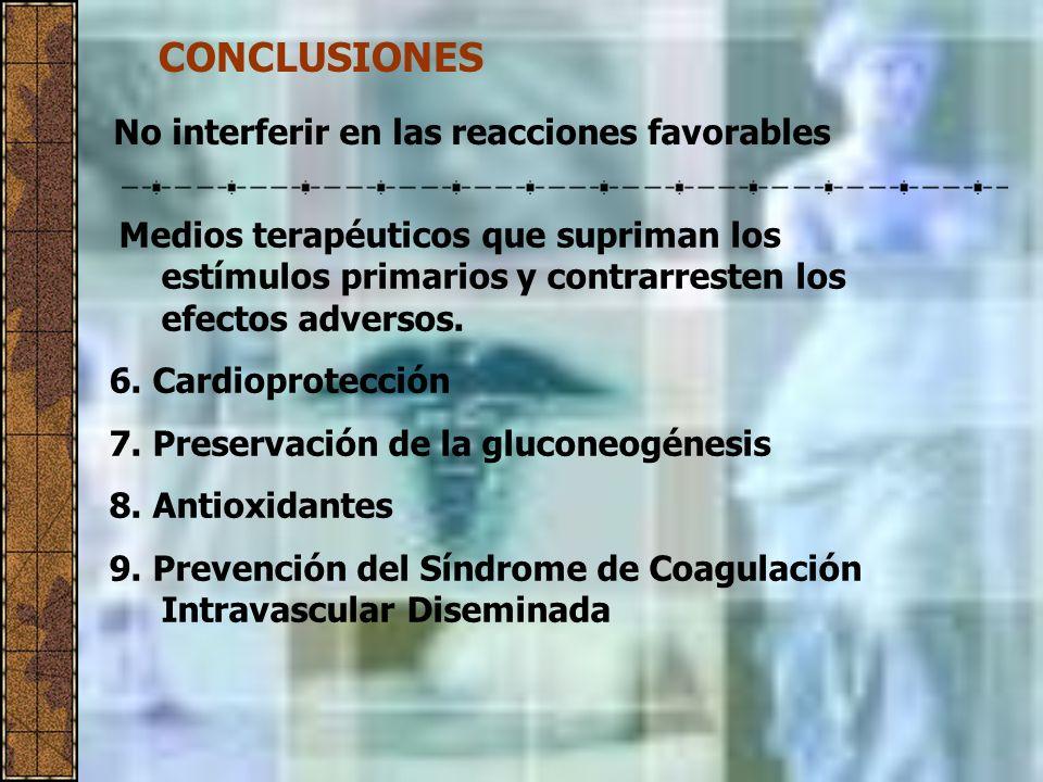 CONCLUSIONES No interferir en las reacciones favorables Medios terapéuticos que supriman los estímulos primarios y contrarresten los efectos adversos.
