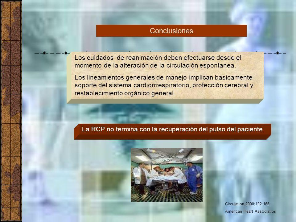 Circulation,2000;102:166 American Heart Association Los cuidados de reanimación deben efectuarse desde el momento de la alteración de la circulación e