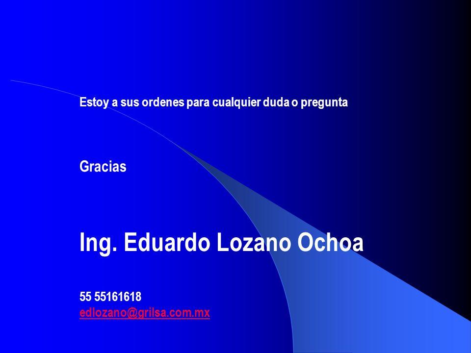Estoy a sus ordenes para cualquier duda o pregunta Gracias Ing. Eduardo Lozano Ochoa 55 55161618 edlozano@grilsa.com.mx
