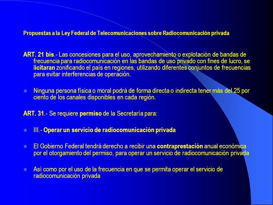 Propuestas a la Ley Federal de Telecomunicaciones sobre Radiocomunicación privada ART. 21 bis.- Las concesiones para el uso, aprovechamiento o explota