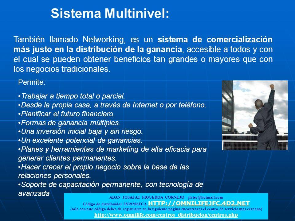 También llamado Networking, es un sistema de comercialización más justo en la distribución de la ganancia, accesible a todos y con el cual se pueden o