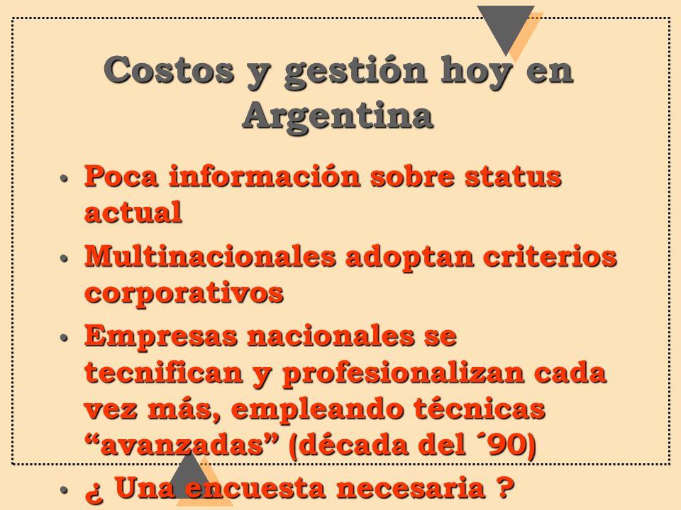Costos y gestión hoy en Argentina Poca información sobre status actual Poca información sobre status actual Multinacionales adoptan criterios corporat