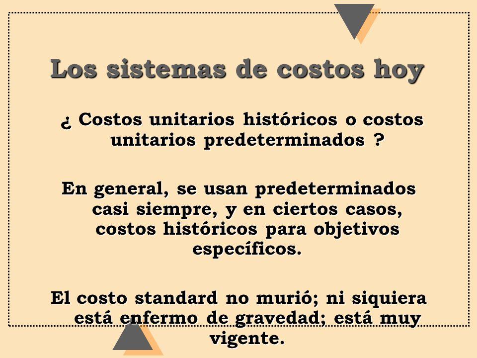 Los sistemas de costos hoy ¿ Costos unitarios históricos o costos unitarios predeterminados ? ¿ Costos unitarios históricos o costos unitarios predete