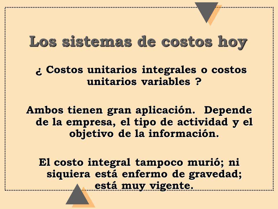 Los sistemas de costos hoy ¿ Costos unitarios integrales o costos unitarios variables ? ¿ Costos unitarios integrales o costos unitarios variables ? A